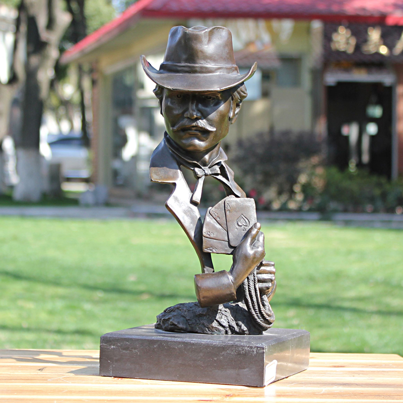 The magician poker men head bronze statue Home Furnishing ornament material body decoration crafts gifts