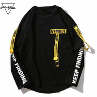 Aelfric Eden T Shirt Men 3d Shirt Printing Letter Ribbon Harajuku Cotton Long Sleeve Punk T