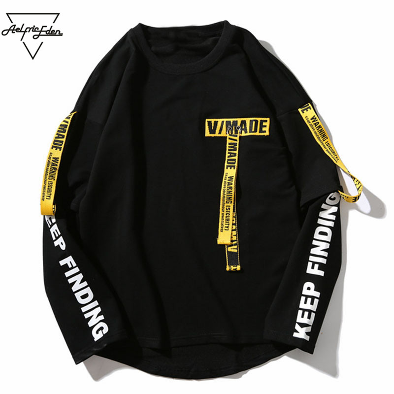 Aelfric Eden T-Shirt Da Uomo 3d Camicia di Stampa della Lettera Del Nastro Harajuku A Maniche Lunghe In Cotone Punk Maglietta di Modo Casual Magliette e camicette Magliette OF016