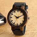 Ocasional Moderna Madeira Simples Rodada Dial Pulseira de Couro Genuíno Strap Homens Mulheres Relógio de Pulso Moda Quartz Relógio de Bambu Da Natureza