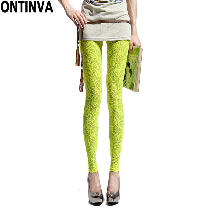 Fitness Leggings Cheap: Sexy Disco Lace Pants Women Candy Color Leggings Girl Neon