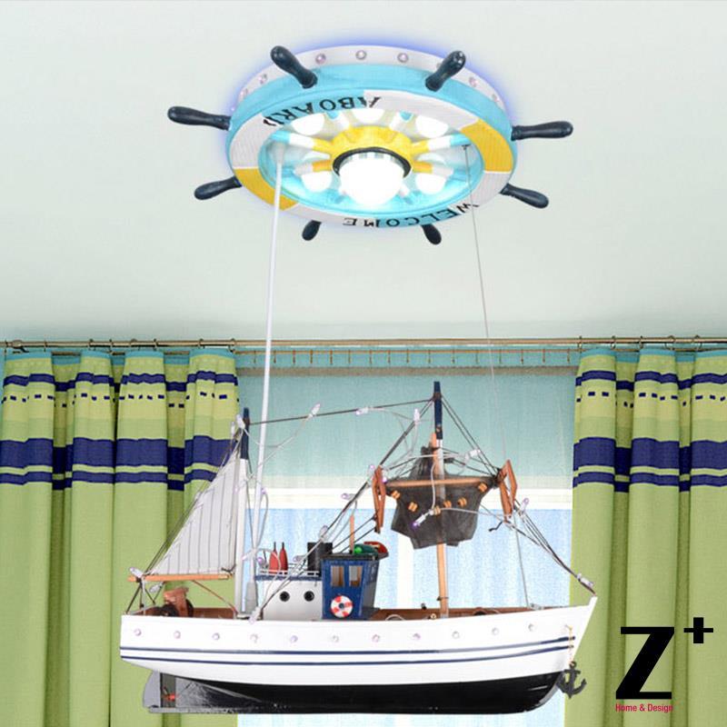 Led lights Children Ceiling Lamp Sailing Sea Ship Helmsman with remote control Light 110V 220V