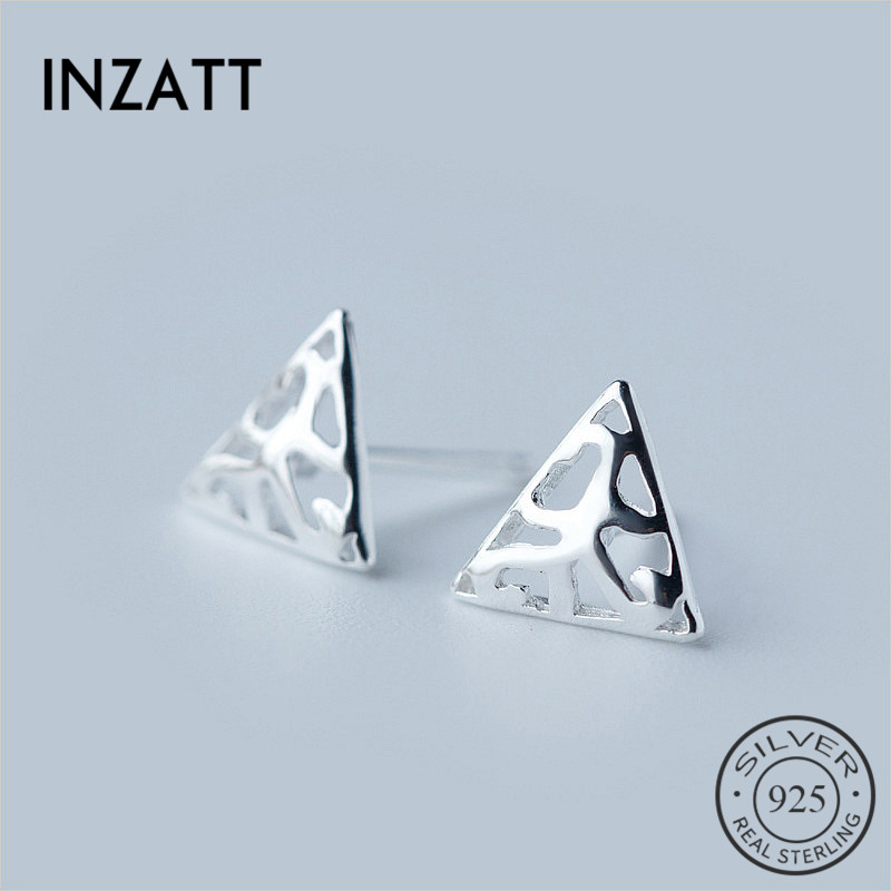 INZATT 925 Sterling Silver Jewelry Vintage Hollow Triangle Stud Earrings for Women Birthday Minimalist Personality Men Earrings