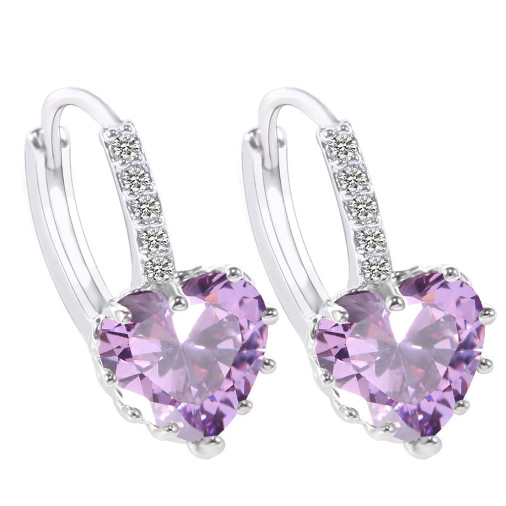 Earrings Active High Quality Jewelry 925 Jewelry Silver Earring For Women Purple Crystal Heart Fashion Silver Plated Earrings Yofdthbw 2019 Latest Style Online Sale 50%