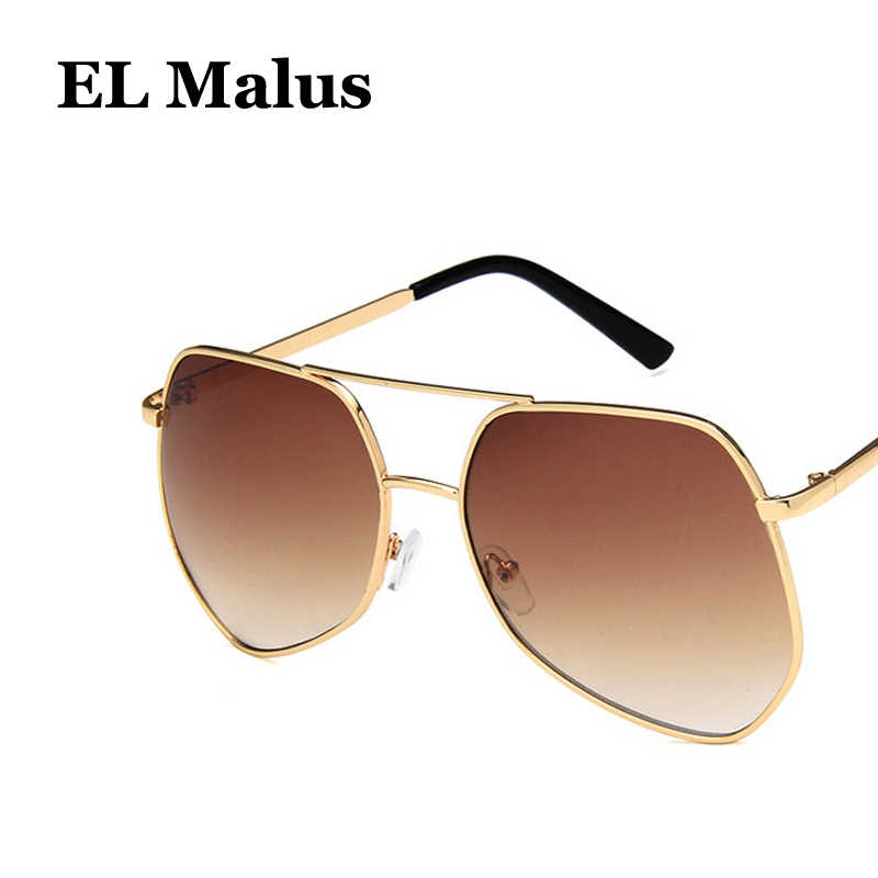 a2ac230ae44e ... [EL Malus]Big Metal Frame Sunglasses Men Women Gray Yellow Pink Lens  Mirror Gold ...