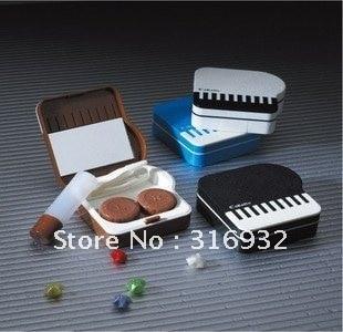 Free Shipping  5pcs/lot piano Contact Lens Case, piano Lenses Box /Colorful Cute Contact lenses case