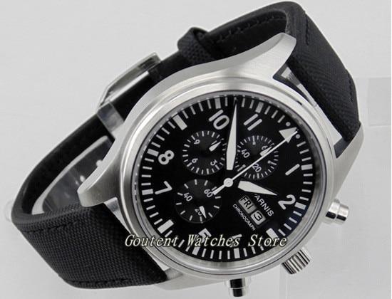 42mm Parnis Day Date Indicator Full Chronograph Black Dial Quartz Movement Men s Watch