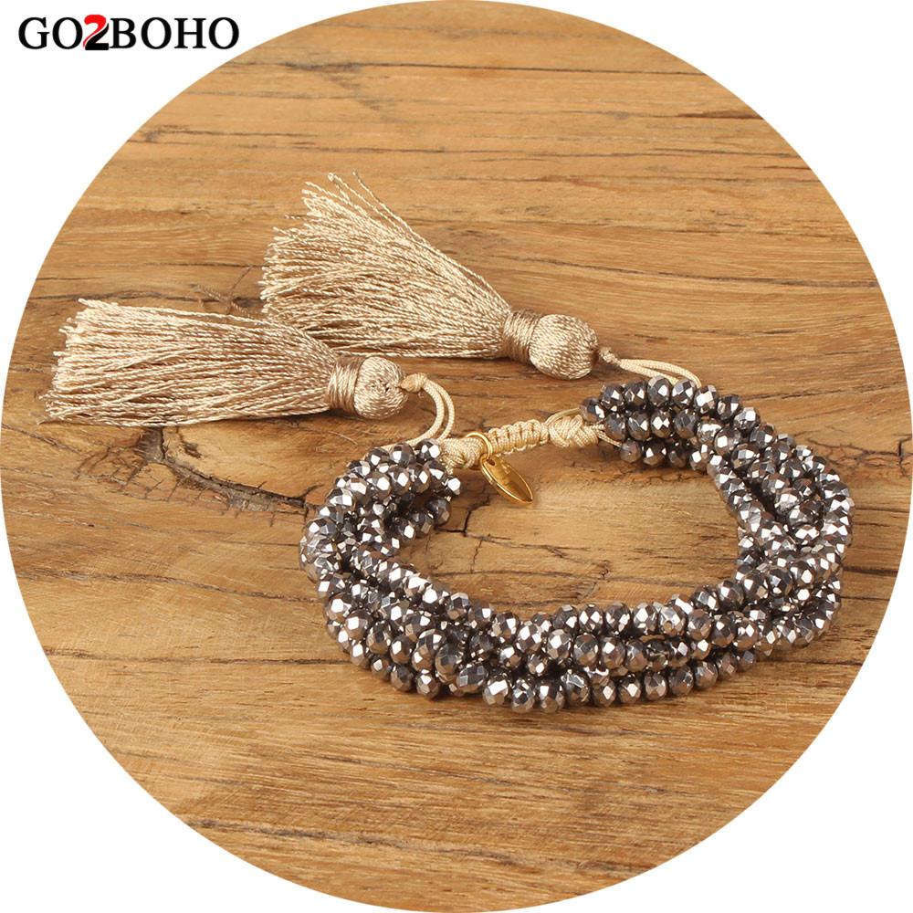 Go2boho Dropshipping 6 Wrap Bracelet 4 MM Silver Faceted Crystal Gold Charm Bracelets Women Jewelry Gift Tassel Adjustable New