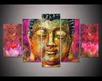 JIE DO ART HD Print 5pcs Canvas Wall Art Pink Lotus Buddha Painting Modern Home Decor