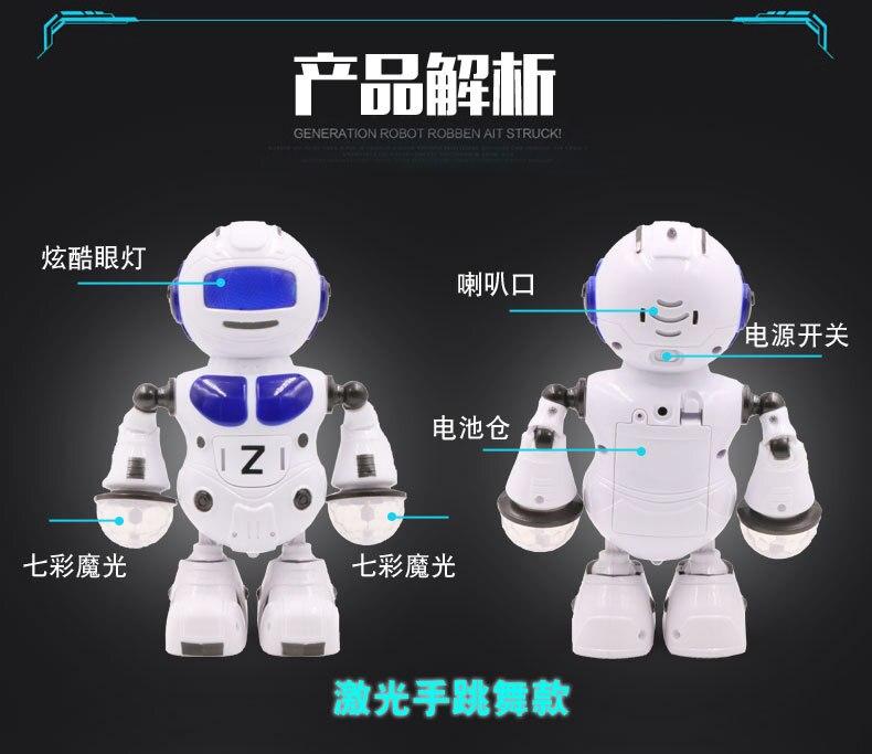 1515CrD Intelligent robot Enfant électrique jouet tambours, chant danse cool éclairage électrique robot jouets pour enfants 3 couleurs