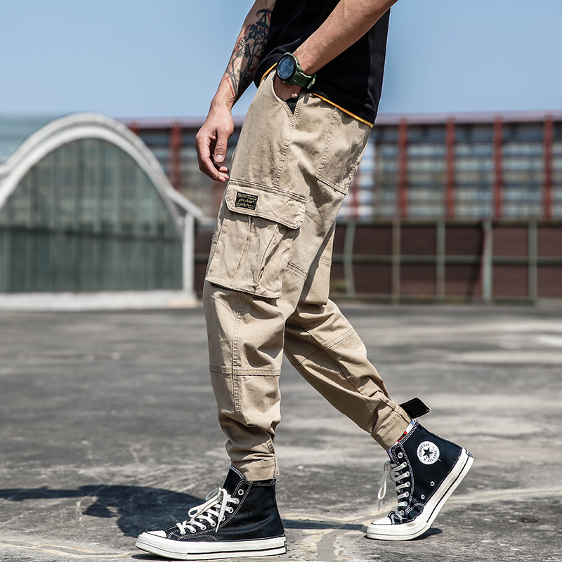 Men Casual Pants Loose Streetwear Mens Cargo Pants Straight Pants Fitness Clothes,Gray,32