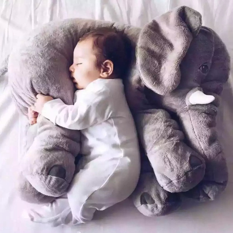 60 cm de dibujos animados gran elefante de peluche de juguete para niños durmiendo cojín de espalda almohada de peluche elefante muñeca bebé muñeca regalo de cumpleaños para niños