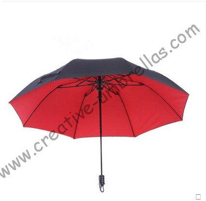 (2pcs/lot)113cm 75T hex-angles parasol visible double layers double bridge fiberglass two fold auto open hook mini golf umbrella