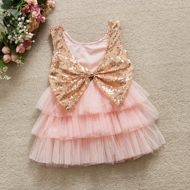 Summer Children Girls Sleeveless Backless Bow Sequined Mesh Cake Layered Princess Birthday Party Tutu Dress Vestidos