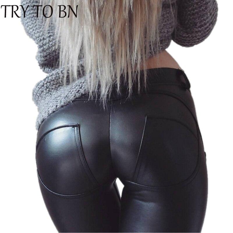 TRY TO BN B PU Leather Low Waist Leggings Women Sexy Hip Push Up Pants Legging Jegging Gothic Leggins Jeggings