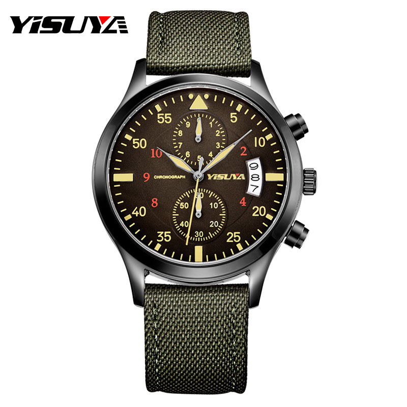 цена на Top Brand YISUYA Luxury Men Chronograph Date Watches Quartz-watch Nylon Leather Men's Sport Army Wrist Watch Waterproof relojes