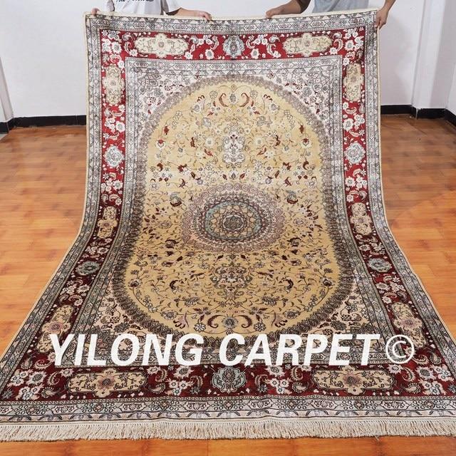 Yilong 6 X9 Antique Oriental Silk Carpet Medallion Light Yellow Hand Knotted Persian Rug