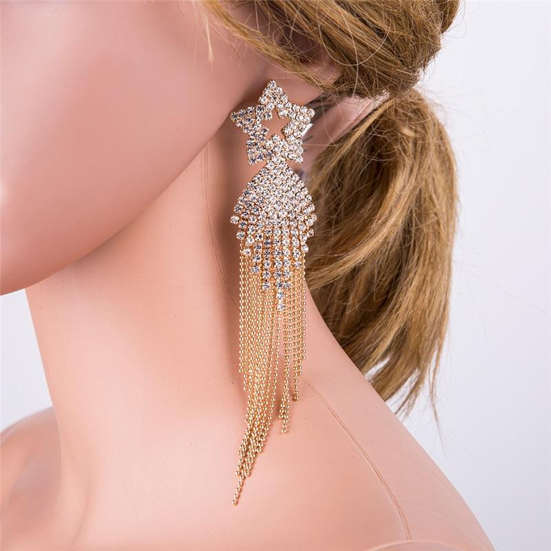 BK Fashion Crystal Tassel Earrings Femme 2018 Geometric Type Earrings for Women Travel Anniversary Birthday Gift Jewelry in Drop Earrings from Jewelry Accessories