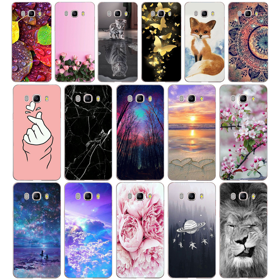 A Silicone Case FOR Samsung Galaxy J7 2016 Case J710 J710F Cover FOR Samsung J7 2016 Phone Soft Tpu Protective Printing Bags