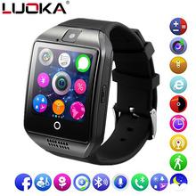 LUOKA Bluetooth smart watch Q18 wsparcie karty Sim TF telefon wiadomość Push aparat łączność Bluetooth do telefonu z systemem Android IOS tanie tanio Polski Rosyjski Portugalski Hiszpański Angielski Niemiecki Włoski Francuski Turecki Elektroniczny Passometer Uśpienia tracker