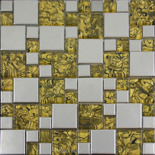 Glasiertem Porzellan Mosaik Fliesen Metallbeschichtung Mosaik Keramik  Fliesen GB09 Küche Backsplash Fliesen Glas Mosaik