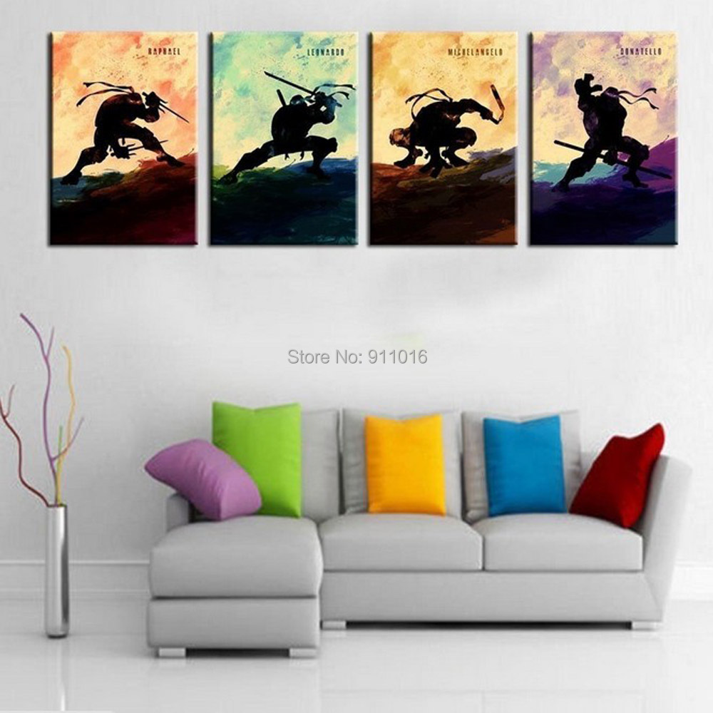 4P Cartoon Painting Hand Painted Abstract Wall Paintings Home Decor Oil Painting On Canvas Pictures Teenage Mutant Ninja Turtles