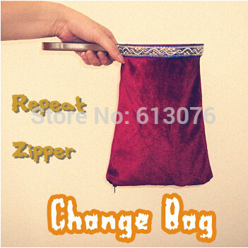 repeat zipper change bag (red,middle)- Magic tricks,bag magic Gimmick,accessories,stage