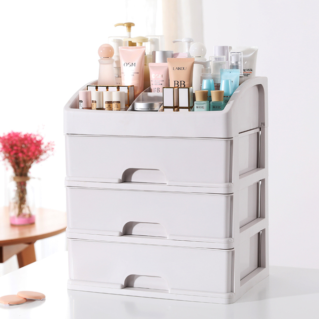 Organizer Storage Box Cosmetics Container Transparent Drawer Dresser Table Shelf Rectangle Plastic Japan Style Glossy