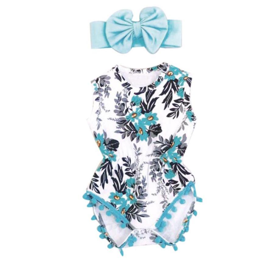 2018 Hot Sale  Fashion Newborn Toddler Kid Baby Girl Print Romper Jumpsuit Sunsuit+Headband Clothes Set  Baby Set Clothing 6.19