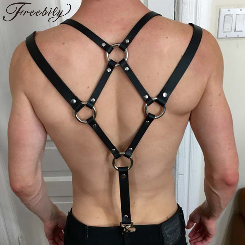 Mens Punk Adjustable PU Leather Body Chest Harness Suspenders Belt With Buckles And Metal O-Rings Cosplay Club Costumes Bondage