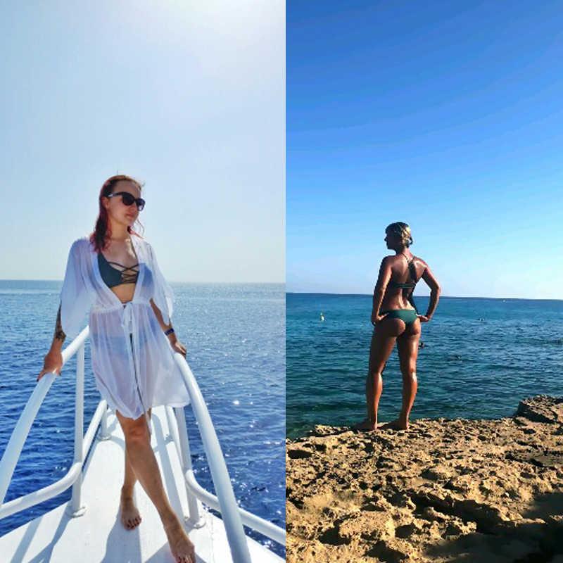 Wanita Perban Thong Brasil Bikini Baju Renang Seksi Wanita Hijau Pita Pengikat Rambut Push Up Baju Renang Bikini Set Beachwear Biquini
