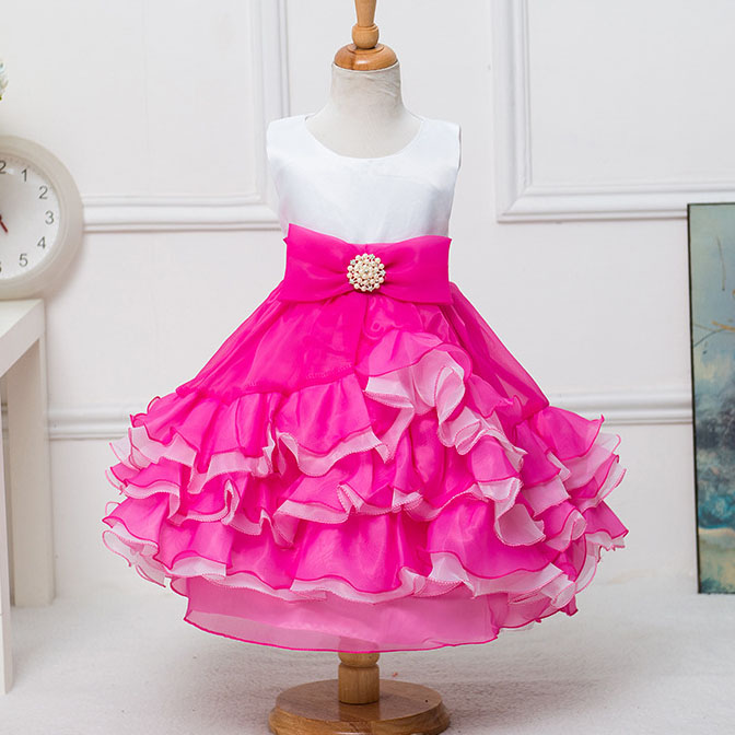 Summer Girls Layered Baby Princess Bridesmaid Flowers Dress Wedding Birthday Party Dresses Baptism Frocks For 2 4 6 8 10 Years baby girl baptism dress sleeveless flowers wedding vestido infants girls clothes princess dresses 3 10 year birthday party dress