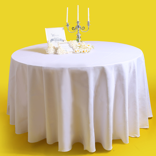 1pc 280cm Round White Table Linen Polyester Table Cover Visa Cocktail Table  Cloth Satin Tablecloth For