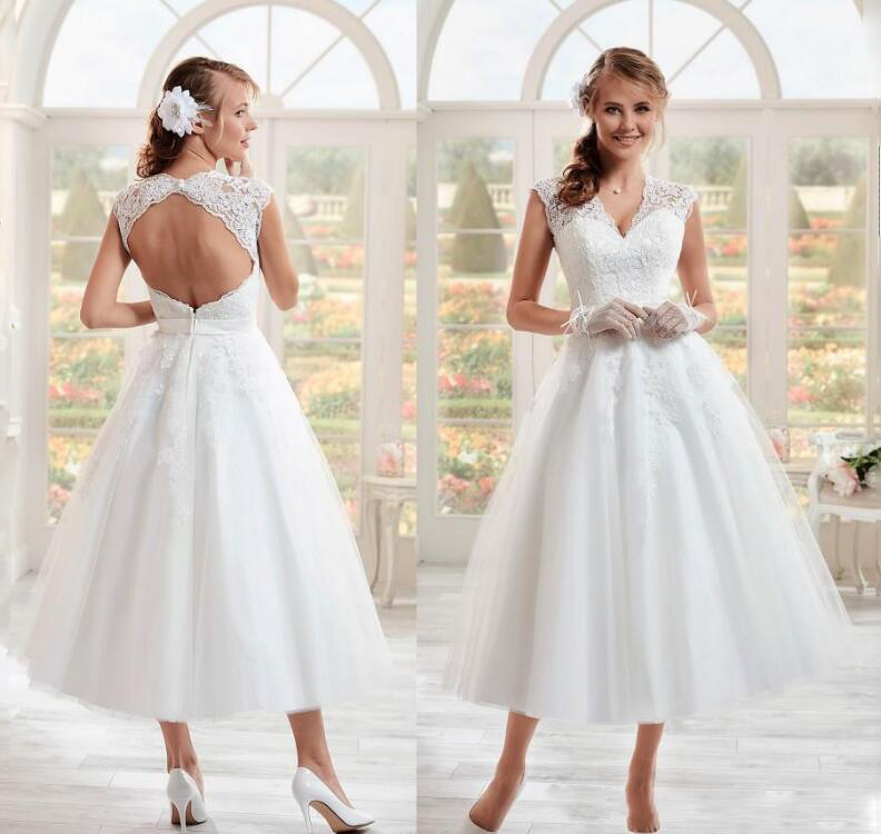 Vintage 50s Short Wedding Dresses 2019 New Design V Neck