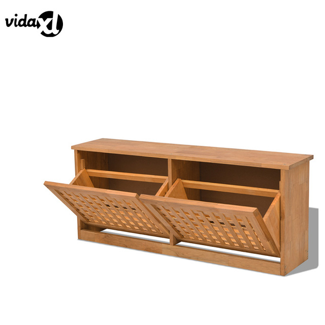 VidaXL Durable Shoe Cabinet Solid Walnut Wood Shoe Storage Bench Sturdy  Shoes Rack Home Furniture Living