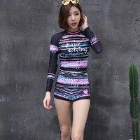2017 Korean Style Sun Protection Printed Surf Diving Tops Shorts Women Long Sleeve Lycra Swimwear Rash