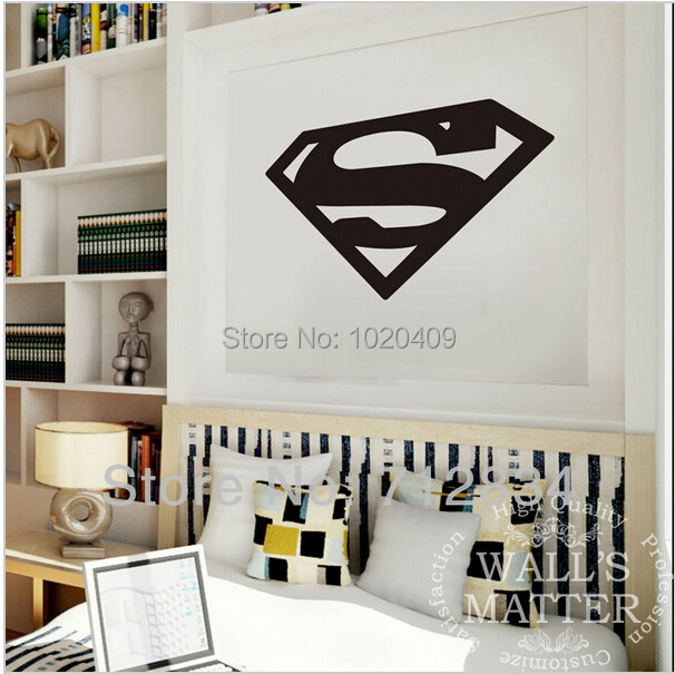 The Avengers superhero Superman logo pvc  carve wall stickers home decals  anima