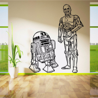 STAR WARS R2D2 AND C3PO DROIDS DUO Movie Vinyl Wall Art Sticker Decal Children Room Door Window Stencils Mural Decor