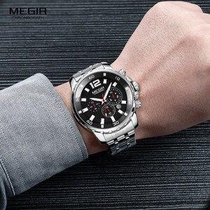 Image 3 - Megir Mens Chronograph Quartz Watches Stainless Steel Analogue Wristwatch for Man 24 hour Display Waterproof Luminous 2068G 1