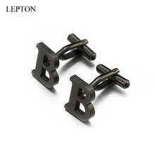 Lepton Stainless steel Letters B Cufflinks for Mens Black & Silver Color Letters B of alphabet Cuff links Men Shirt Cuffs Button igame letters cufflinks silver color fashion english letters design 26 letters copper material free shipping