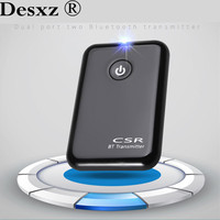 Desxz CSR Dual Post Two Bluetooth Apt X Audio Transmitter 3 5mm A2DP Stereo Dongle Adapter