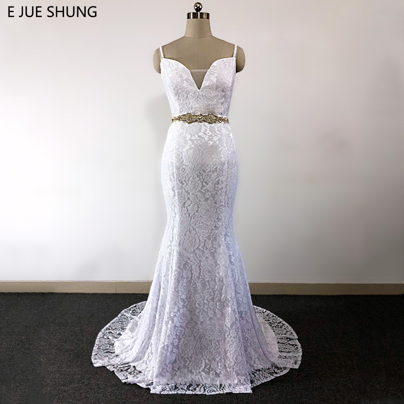 Greek Style Boho Bohemian Wedding Dresses Spaghetti Straps: E JUE SHUNG White Vintage Lace Mermaid Boho Wedding