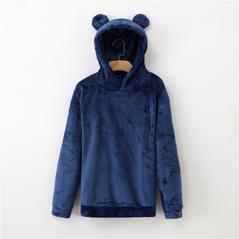 Women's Flannel Hoodies Sweatshirts Lovely With Bears Ears Solid Warm Hoodie Autumn Winter Casual Campus Pullovers Coat 9