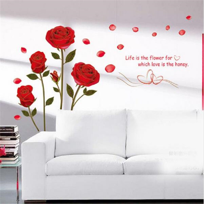 Removable Red Rose Flower Modern PVC Wall Sticker Phnom Penh DIY Mural Three-Dimensional Living Room Modern Bedroom Home Decor
