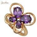 Новинка 2019 Cz кольца Бабочка фиолетовый кубический цирконий желтое золото кольцо для женщин модное ювелирное изделие Размер 5,5 6,5 R282 - фото