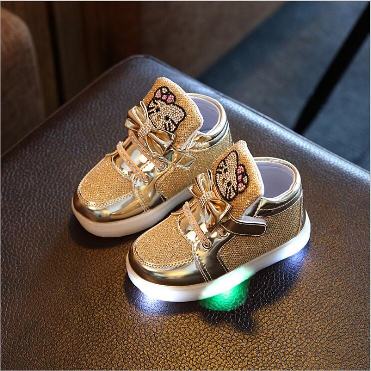 New-Cartoon-Cat-Diamond-Princess-Girls-Sports-Shoes-Autumn-Winter-Cartoon-LED-Sneakers-Korean-Children-High-Top-Boots-Kids-Shoes-3