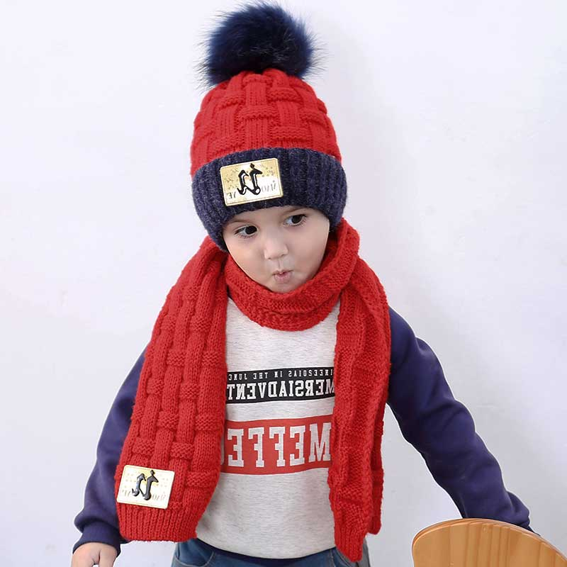 Winter Girls Hat And Scarf Set For Children Kids Knitted Soft Stretch Cable Hats Scarfs Boys Pompom Cap Scarves Warm Suit M7118