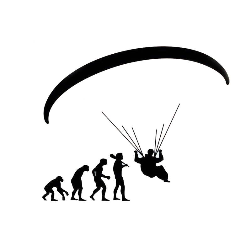 Motorfietssticker Human Evolution Paragliding Car Stickers Cartoon Motorfiets Vinyl Decals Zwart / Zilver