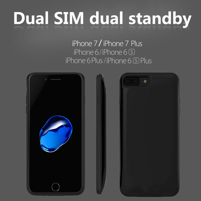 Dual sim dual standby bluetooth adaptador para iphone 7/7 plus goodtalk escudo do telefone ultra-fino para trás clipe de bateria 2500 mah poder banco
