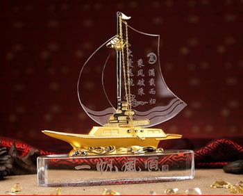 TOP GOOD Desk Business Decorative art Talisman -ALL GOOD LUCK crystal Sailboat FENG SHUI Mascot Sculpture statue